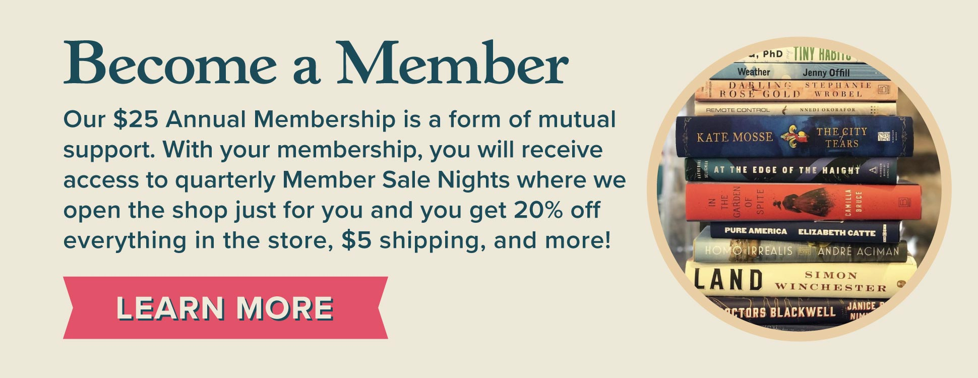 Become a Member. Click here to learn more about purchasing an Old Town Books Membership.